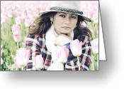 Older Woman Photo Greeting Cards - Lydia Surrounded By Pink Tulips Greeting Card by Paul W Sharpe Aka Wizard of Wonders