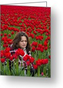 Older Woman Photo Greeting Cards - Lydia Surrounded By Red Tulips Greeting Card by Paul W Sharpe Aka Wizard of Wonders