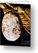 Gold Earrings Photo Greeting Cards - Lydias Cameo Greeting Card by Padre Art