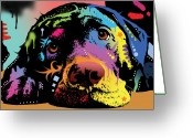 Oil Greeting Cards - Lying Lab Greeting Card by Dean Russo