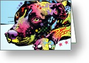 Pit Bull Greeting Cards - Lying Pit LUV Greeting Card by Dean Russo