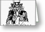 I Want You Greeting Cards - Lyndon Johnson: Cartoon Greeting Card by Granger