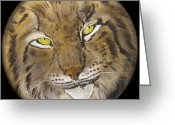 Shaman Drum Greeting Cards - Lynx Drum Greeting Card by Ethan  Foxx