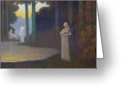 Pond Painting Greeting Cards - Lyricism in the Forest Greeting Card by Alphonse Osbert