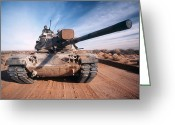 Battle Tanks Greeting Cards - M-60 Battle Tank In Motion Greeting Card by Stocktrek Images