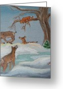 Does. Winter Greeting Cards - M is for Mountain Lion detail from Childhood Quilt Painting Greeting Card by Dawn Senior-Trask