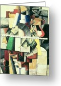 Cubist Greeting Cards - M Matuischin Greeting Card by Kazimir Severinovich Malevich