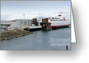 Los Angeles Greeting Cards - M V COHO docked ferry at Port Angeles Greeting Card by Andy Smy