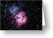 Nebula Greeting Cards - M20, The Trifid Nebula Greeting Card by A. V. Ley