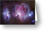 Interstellar Clouds Photo Greeting Cards - M42, The Orion Nebula Top, And Ngc Greeting Card by Robert Gendler