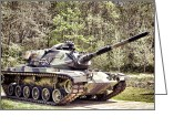 M60 Patton Tank Greeting Cards - M60 Patton Tank Greeting Card by Olivier Le Queinec