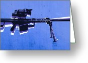 Light  Digital Art Greeting Cards - M82 Sniper Rifle on Blue Greeting Card by Michael Tompsett