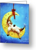 Cheese Greeting Cards - Maaah in the Moon Greeting Card by Conni Togel