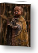 Maasai Mara Greeting Cards - Maasai Boy Greeting Card by Adam Romanowicz