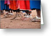 Maasai Mara Greeting Cards - Maasai Feet Greeting Card by Adam Romanowicz