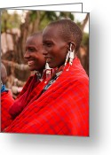 Maasai Mara Greeting Cards - Maasai Women Greeting Card by Adam Romanowicz