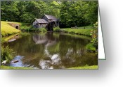 Split Rail Fence Greeting Cards - Mabry Mill and Pond Greeting Card by Lori Coleman