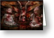 Bloody Greeting Cards - Macabre - Dolls - Having a friend for dinner Greeting Card by Mike Savad