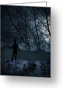Blue Moon Greeting Cards - Macabre Greeting Card by Lourry Legarde