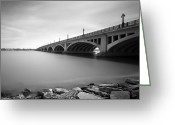 Minute Greeting Cards - MacArthur Bridge To Belle Isle Detroit Michigan Greeting Card by Gordon Dean II