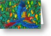 Silk Art Greeting Cards - Macaw in Mango tree Greeting Card by Daniel Jean-Baptiste