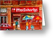 Resto Cafes Greeting Cards - Macdohertys Icecream Parlor Greeting Card by Carole Spandau