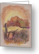 Sunset Prints Pastels Greeting Cards - MacGregors Barn pstl Greeting Card by Carol Wisniewski