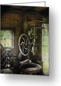 All-metal Greeting Cards - Machine Shop - An old drill press Greeting Card by Mike Savad