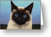 Blue Cat Greeting Cards - Machka 2001 Greeting Card by James W Johnson