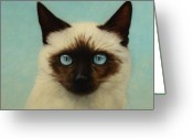 Blue Cat Greeting Cards - Machka Greeting Card by James W Johnson