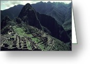 Pre Columbian Antiquities And Artifacts Greeting Cards - Machu Picchu, A Pre-columian Inca Ruin Greeting Card by Ira Block