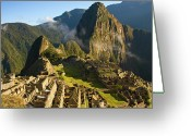 Ancient Civilization Greeting Cards - Machu Picchu And Fog In Morning Greeting Card by Matt Champlin