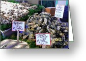 Pike Seafood Market Greeting Cards - Mackerel Squid and Oysters   Oh My Greeting Card by Terri Thompson