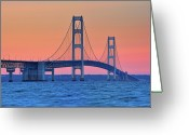 Suspension Greeting Cards - Mackinac Bridge, Mackinaw City, Michigan Greeting Card by John McCormick