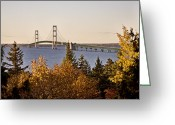 Interstate Greeting Cards - Mackinaw City Bridge Michigan Greeting Card by Mark Duffy
