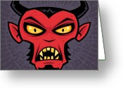 Horns Greeting Cards - Mad Devil Greeting Card by John Schwegel