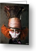 Mad Hatter Digital Art Greeting Cards - Mad Hatter Greeting Card by BaloOm Studios
