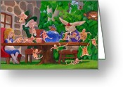 Hare Greeting Cards - Mad Hatter Card Party Greeting Card by Leonard Filgate