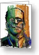 Frankenstein Greeting Cards - Mad Man Greeting Card by Russell Pierce