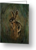 Hare Drawings Greeting Cards - Mad March Hare Greeting Card by Lynn Hughes