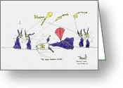 Kites Drawings Greeting Cards - Mad March Wind Greeting Card by Tis Art