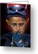 Batman Greeting Cards - Mad Men Series 1 of 6 - President Obama The Dark Knight Greeting Card by Reggie Duffie