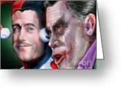 Republican Painting Greeting Cards - Mad Men Series  4 of 6 - Romney and Ryan Greeting Card by Reggie Duffie