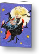 Trick Painting Greeting Cards - Mad Millie Moon Dance Greeting Card by Richard De Wolfe