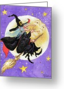Trick Or Treat Greeting Cards - Mad Millie Greeting Card by Richard De Wolfe