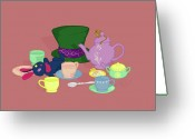 Tea Party Greeting Cards - Mad Tea Party Greeting Card by K Martinez