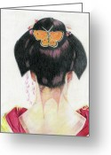 Madame Butterfly Greeting Cards - Madame Butterfly Greeting Card by Karen Clark