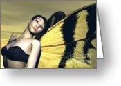 Black Wings Greeting Cards - Madame Butterfly Greeting Card by Sandra Bauser Digital Art