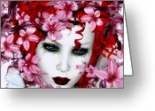 Geisha Greeting Cards - Madame Butterfly Greeting Card by Shanina Conway