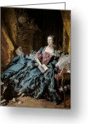 Boudoir Greeting Cards - Madame de Pompadour Greeting Card by Francois Boucher